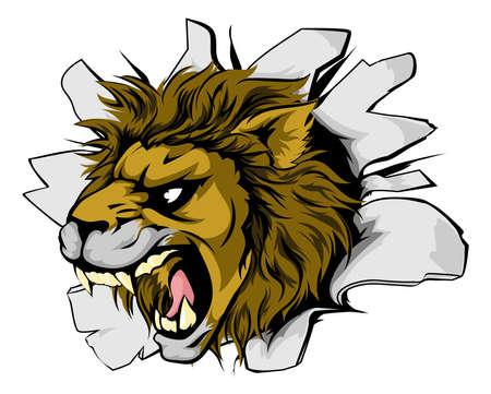 An illustration of a roaring lion head bursting through a wall
