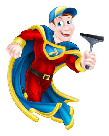 Illustration of a cartoon window cleaner superhero mascot holding a squeegee