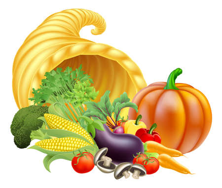 cornucopia: Thanksgiving or golden horn of plenty cornucopia full of vegetables and fruit produce