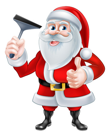 squeegee: A Christmas cartoon illustration of Santa Claus holding a squeegee and giving a thumbs up Illustration