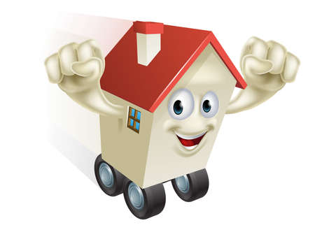 rent house: House move concept, a cartoon house character zooming along on wheels