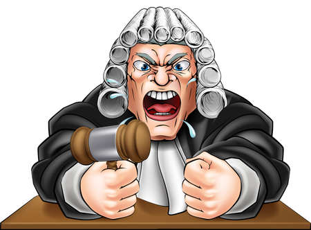 judges: An illustration of an angry judge cartoon character