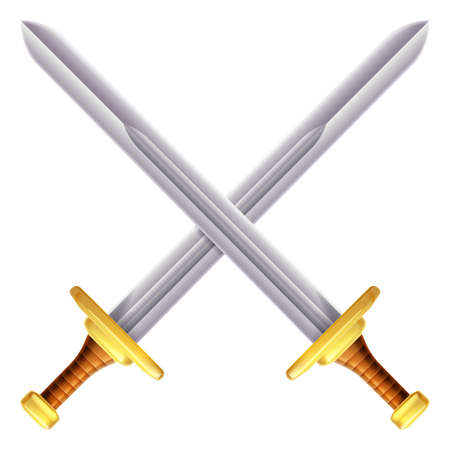 sword fight: An illustration of a pair of crossed swords