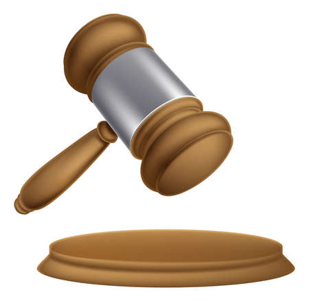 judges: An illustration of a wooden judges court or auction sale gavel