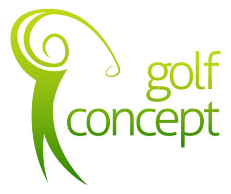 golf ball on tee: Golf swing abstract concept of a golfer figure playing golf