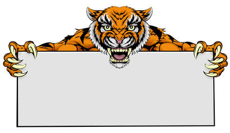 A cartoon mean tiger sports mascot holding a large sign Vector