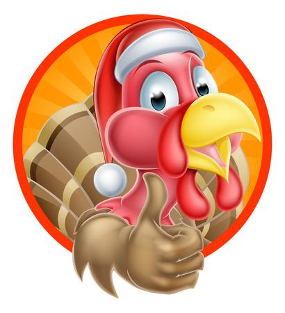 Cartoon Christmas turkey mascot giving a thumbs up and wearing a Santa Claus hat Vector
