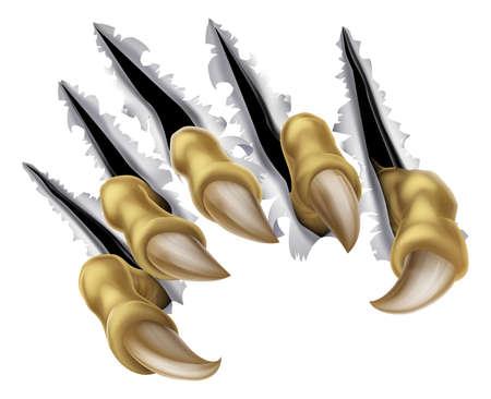 loup garou: Une illustration d'un monstre effrayant griffe d�chirure vert de la main ou de d�chirure ou trous Percer un mur
