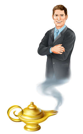 jinn: Business concept. A businessman genie coming out of a magic gold lamp like from Aladdin