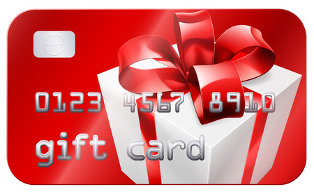 A credit card style gift card illustration with a white gift or present with red bow or ribbon Vector