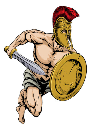the trojan: An illustration of a gladiator warrior character or sports mascot  in a trojan or Spartan style helmet holding a sword and shield Illustration