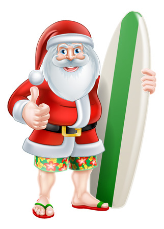 board shorts: Christmas cartoon of Santa giving a thumbs up in his board shorts and sandals holding a surf board Illustration