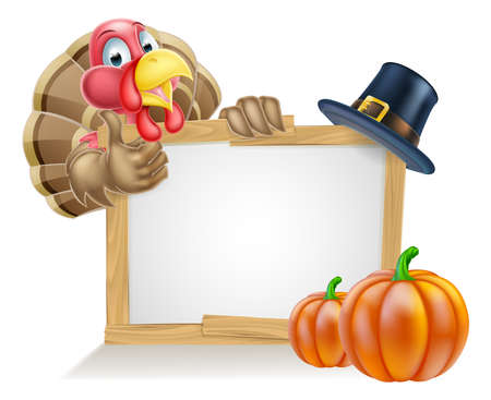 humour: Sign with cartoon Thanksgiving turkey bird with a pilgrim or puritan thanksgiving hat and pumpkins Illustration