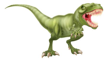 dinosaurio caricatura: Una ilustración de un feroz tiranosaurios rex rugido del dinosaurio