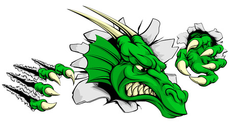 tare: A tough dragon animal sports mascot breaking through a wall