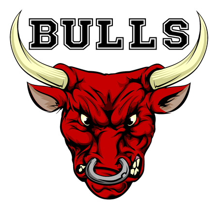 An illustration of a bull sports mascot head with the word bulls