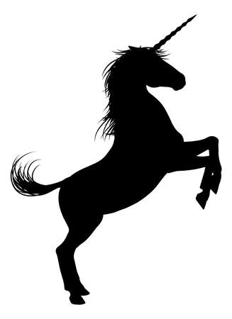 Unicorn mythical horse in silhouette rearing standing on hind legs Illustration