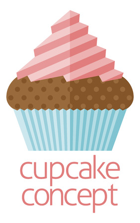 cake with icing: Cupcake concept design of a stylised cup cake or fairy cake