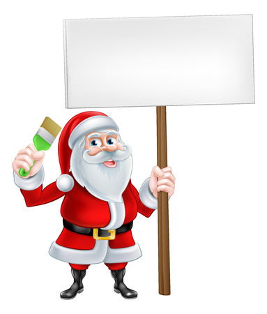 handy man: A Christmas cartoon illustration of Santa Claus holding a paintbrush and sign board Illustration