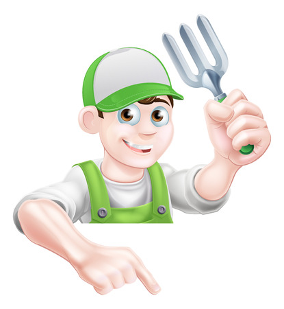hand shovel: A cartoon gardening mascot gardener holding a garden fork tool and pointing down