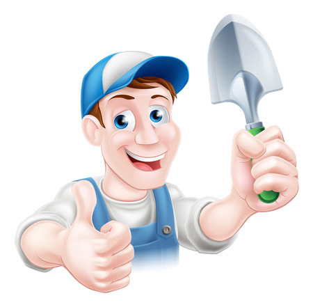 garden maintenance: A cartoon gardener character in a cap and blue dungarees holding a garden trowel tool and giving a thumbs up Illustration