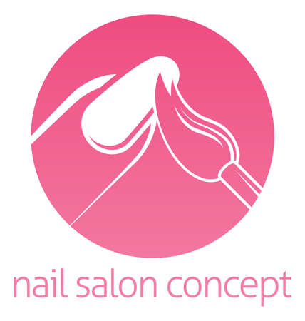french manicure: Nail technician, nail bar or salon manicurist concept of a nail being painted with a brush Illustration