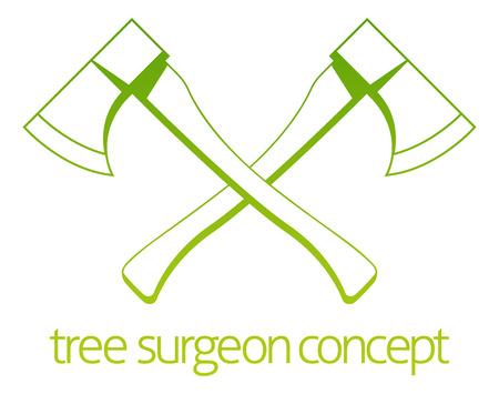A crossed axes Tree Surgeon or gardener concept design Illustration