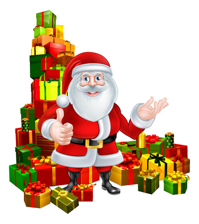 wrapped corner: Christmas cartoon of Santa giving a thumbs up standing in the middle of a huge stack of presents or gifts