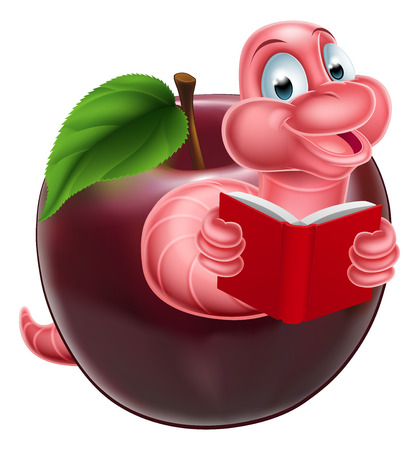 bücherwurm: Eine gl�ckliche l�chelnde niedliche rosa Cartoon Raupe Wurm B�cherwurm aus einem Apfel kommt und liest ein Buch