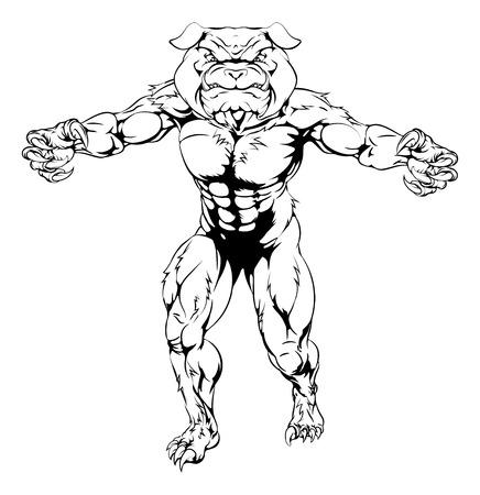 man head: Cartoon scary bulldog animal sports mascot illustration