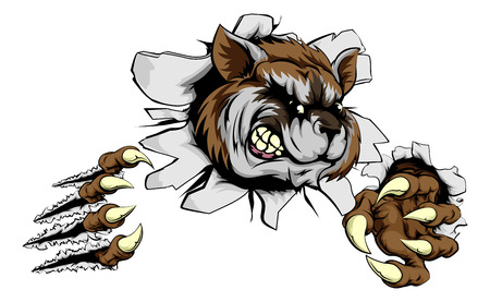A scary raccoon mascot ripping through the background with sharp claws Illustration