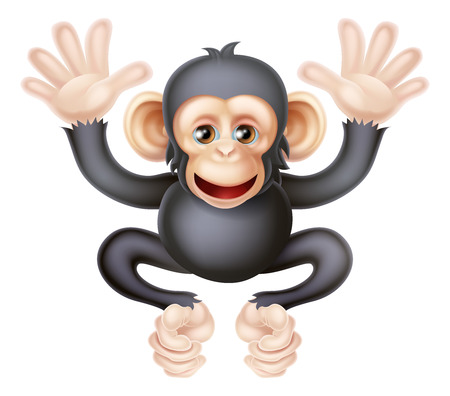 Chimp: An illustration of a cute cartoon baby chimp, interestingly not a monkey but an ape Illustration