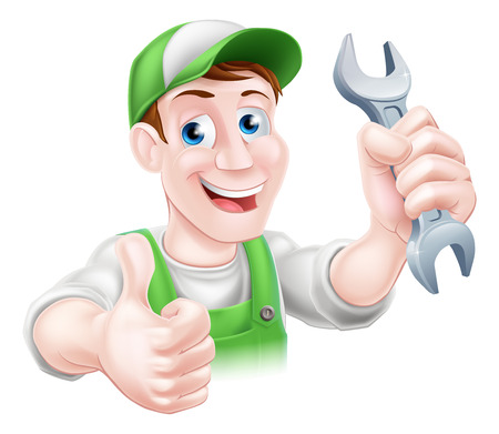 adjustable wrench: A happy cartoon plumber or mechanic man holding a spanner or wrench and giving a thumbs up
