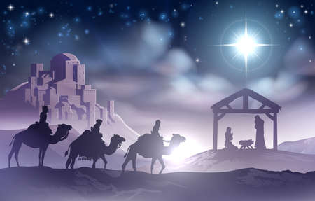 scene: Traditional Christian Christmas Nativity Scene of baby Jesus in the manger with Mary and Joseph in silhouette with wise men Illustration