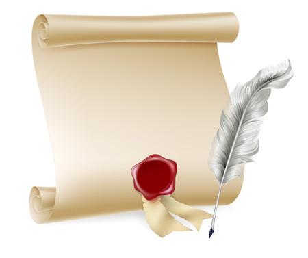 pluma de escribir antigua: Pluma pluma y pergamino y papel con sello rojo