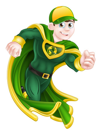 caped: Cartoon super hero character in green and yellow running in a cape and costume and with an earth globe symbol on his chest Illustration