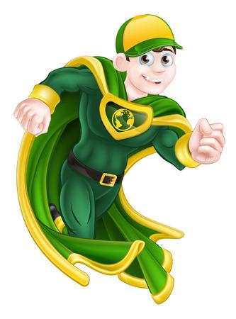 libros volando: Personaje superhéroe de dibujos animados en funcionamiento verde y amarillo en una capa y traje y con un globo terráqueo símbolo en el pecho