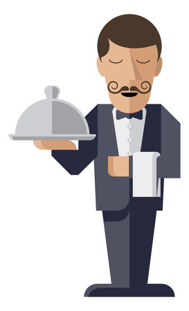 snob: A welcoming stylised waiter character holding a serving platter or silver cloche