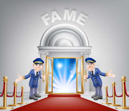 service entrance: Fame door concept of a doormen holding open a door at a red carpet entrance with velvet ropes.