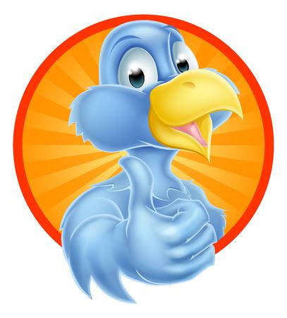 birds cartoon: A cartoon cute bluebird blue bird mascot giving a thumbs up Illustration