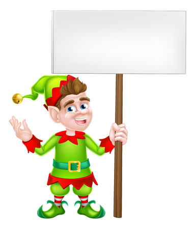 elf: An illustration of a cute happy cartoon Christmas Elf or one of Santa s Christmas with a sign board helpers Illustration