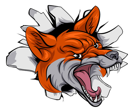 An illustration of a fox animal sports mascot cartoon character breaking through background