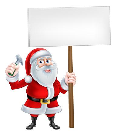 decorator: A Christmas cartoon Santa Claus holding sign and hammer tool