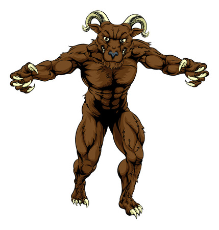 bighorn: A mean tough muscular ram sports mascot character advancing with claws out