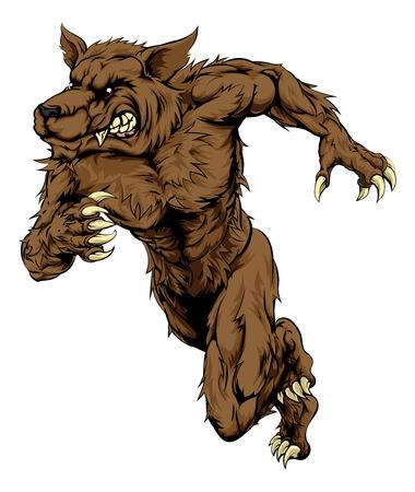 스포츠 또는 운동 경기 마스코트로 큰 늑대 또는 늑대 인간 캐릭터를 실행하는 역주의 그림,