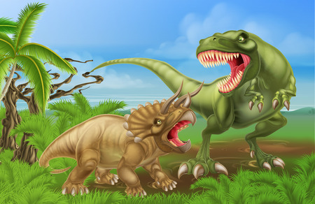 cartoon dinosaur: A tyrannosaurus rex or T Rex and triceratops dinosaur fight scene illustration of the two dinosaurs fighting each other