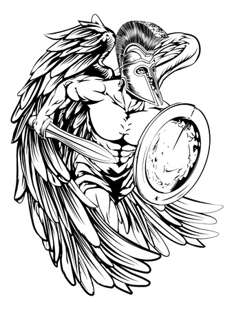 the trojan: An illustration of a warrior angel character or sports mascot  in a trojan or Spartan style helmet holding a sword and shield