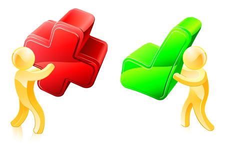 personne seule: Illustration d'une personne avec une coche verte et une avec une croix rouge