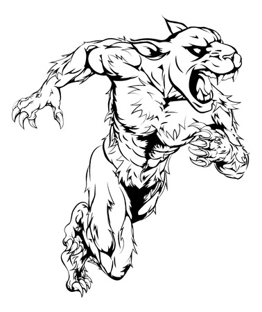 sprinting: A panther man character or sports mascot charging, sprinting or running
