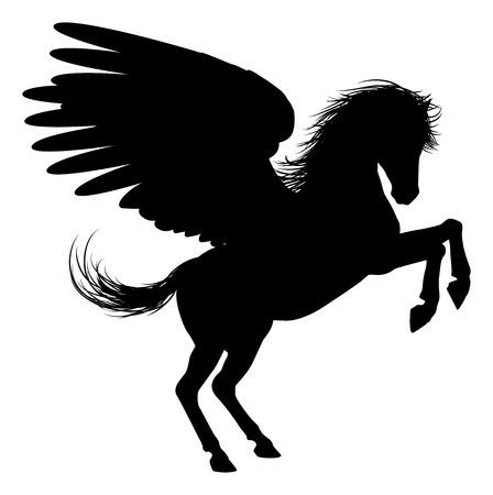 pegaso: Pegasus caballo alado m�tico en la silueta
